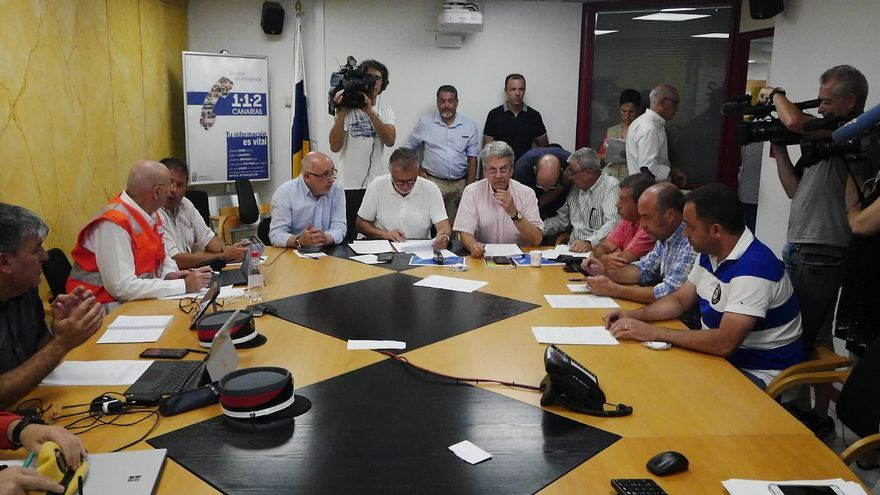 Ángel Víctor Torres, en la rueda de prensa para informar del avance del fuego en Gran Canaria