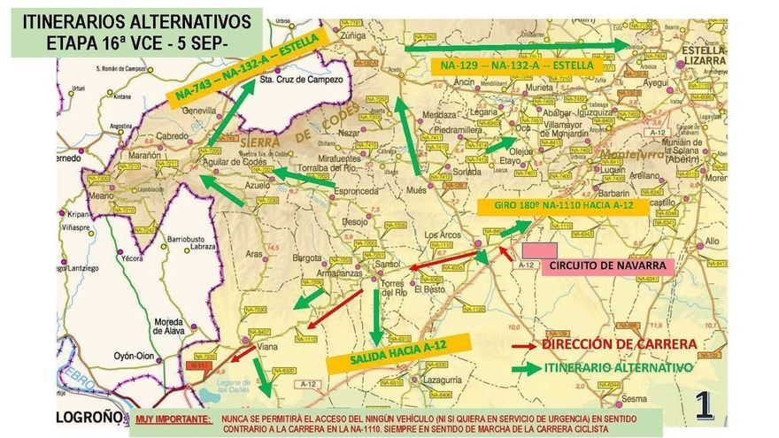 Alteraciones de tráfico el 5 de septiembre en Navarra por el paso de la Vuelta a España