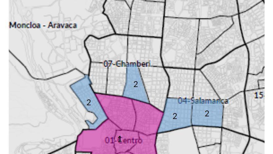 Mapa distritos afectados por la moratoria para pisos turísticos.