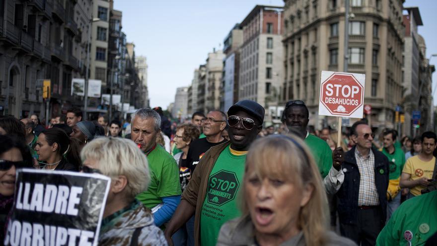 Imagen de la manifestación en Barcelona en motivo del segundo aniversario del 15M. /CARLES PALACIO
