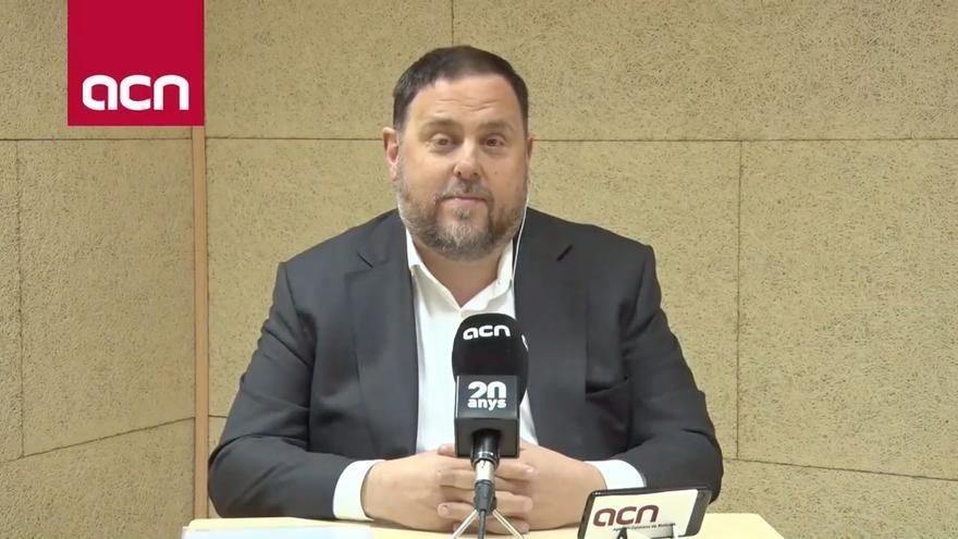 Oriol Junqueras durante la rueda de prensa que la Junta Electoral ha autorizado desde la prisión
