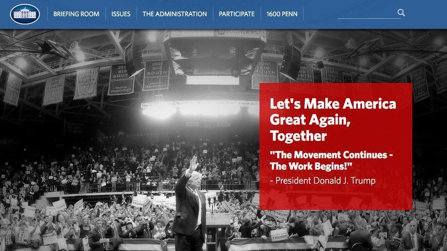 Portada de la página de la Casa Blanca este 21 de enero de 2017.