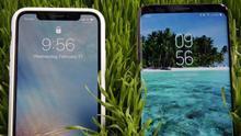 Un iPhone X de Apple, a la izquierda, y un Samsung Galaxy S9, a la derecha, en una imagen de archivo.