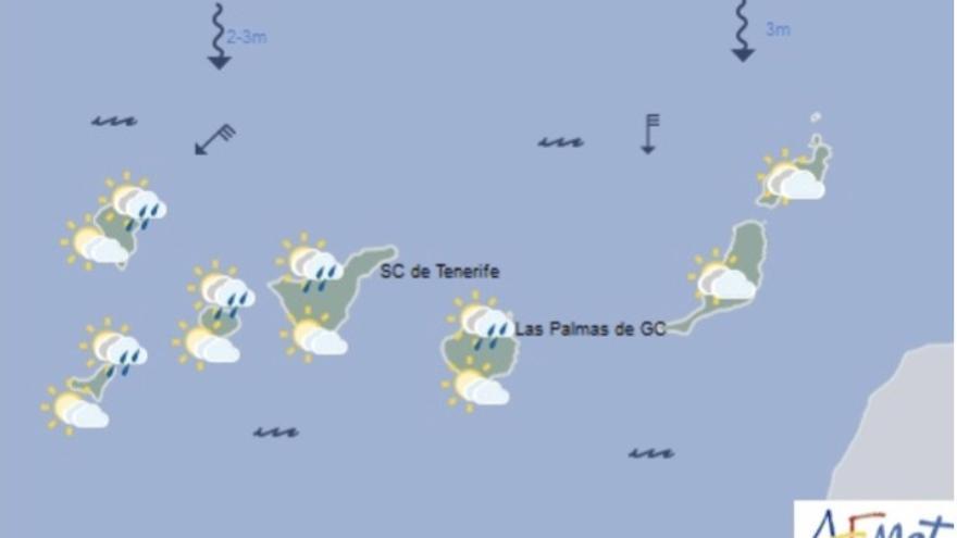Mapa del tiempo de la Aemet para este martes, 6 de febrero de 2018.
