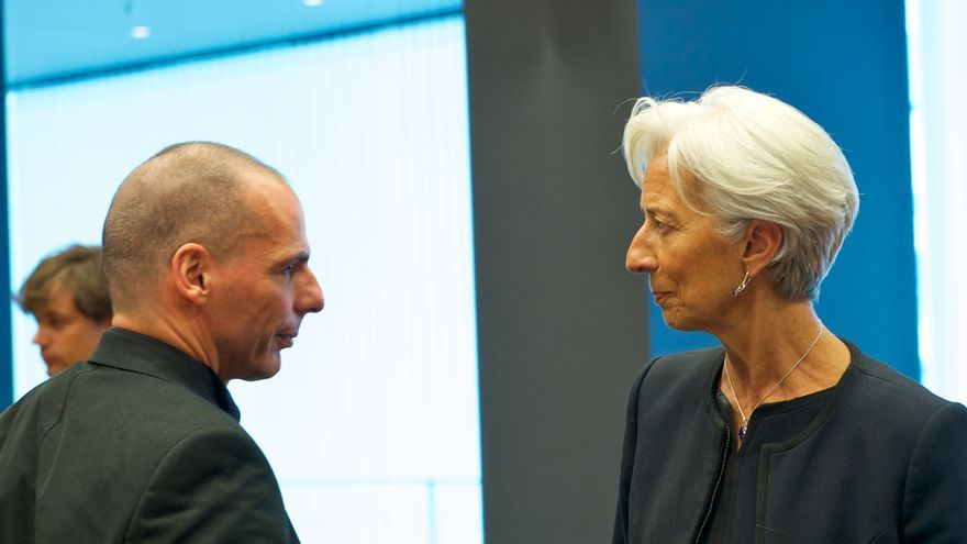 From left to right: Mr Yanis VAROUFAKIS, Greek Minister for Finance; Ms Christine LAGARDE, Managing Director of the IMF.