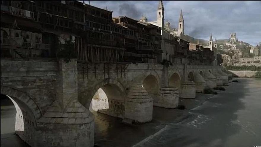 Puente largo de Volantis  (recreado sobre el Puente Romano de Córdoba).
