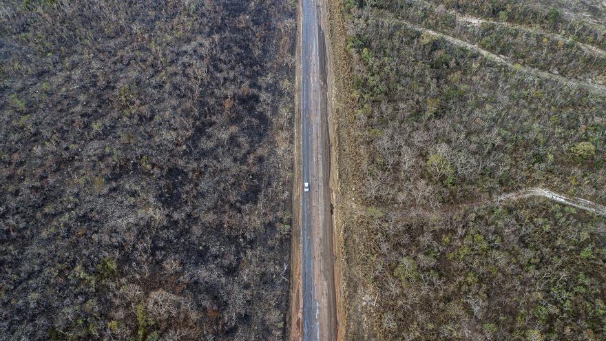 Fotografía de este martes 20 de agosto de 2019 muestra un área afectada por los incendio en el estado de Mato Grosso (Brasil). La región amazónica brasileña sufre los peores incendios de los últimos años.