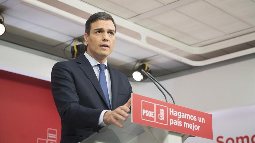 Pedro Sánchez, durante la rueda de prensa en Ferraz