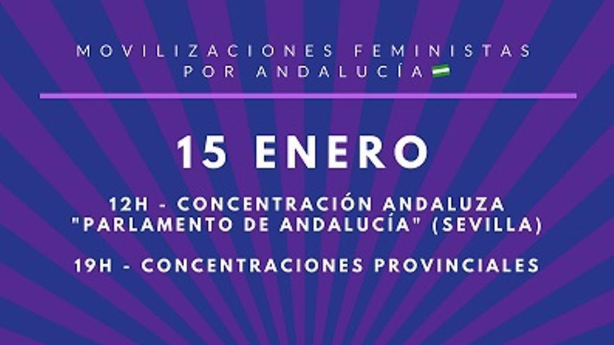 Colectivos de mujeres y feministas de Andalucía convocan concentraciones ante el Parlamento de Andalucía y en las provincias el 15 de enero.