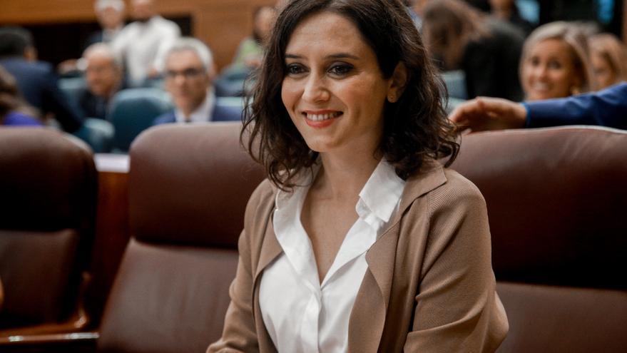 La presidenta de la Comunidad de Madrid, Isabel Díaz Ayuso, durante una sesión plenaria en la Asamblea de Madrid (España), a 3 de octubre / Europa Press