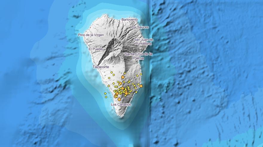 Imagen del IGN de este sábado, 17 de febrero, donde se indica los puntos donde se han localizados movimientos sísmicos en La Palma y su entorno.