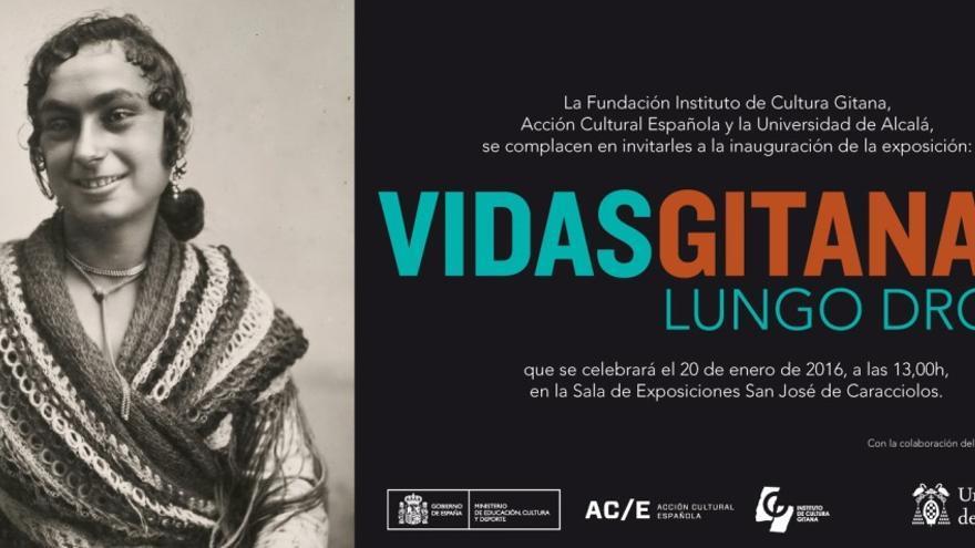 """Cartel de la exposición itinerante """"Vidas gitanas. Lungo drom"""" en Alcalá de Henares"""