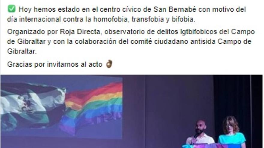 Captura de una publicación en Facebook de Vox Algeciras