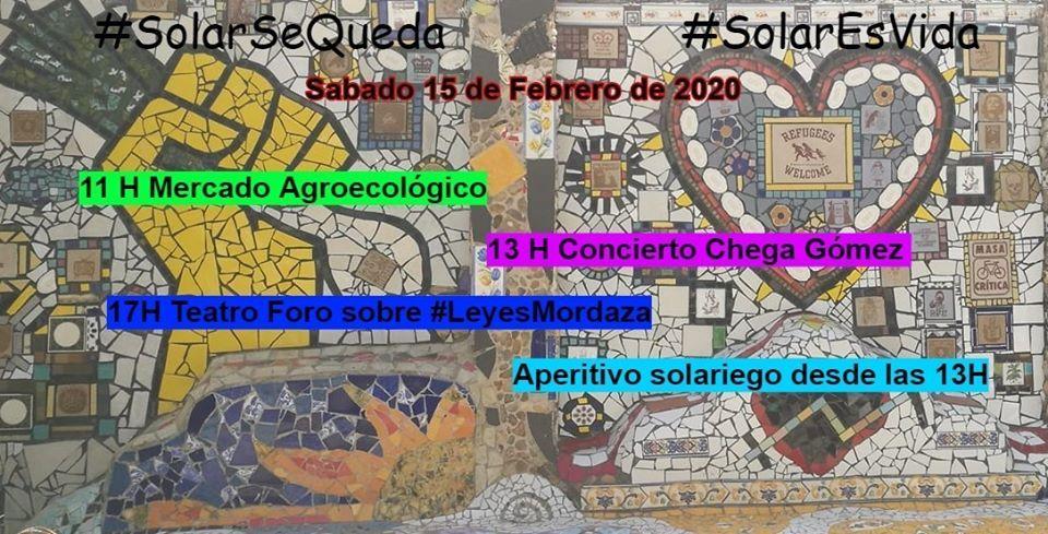 Jornada cultural en el Solar Maravillas: mercado agroecológico, teatro social y concierto de Chega Gómez