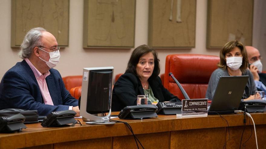 La presidenta de la AIReF, Cristina Herrero, durante su comparecencia ante la Comisión de Presupuestos del Congreso