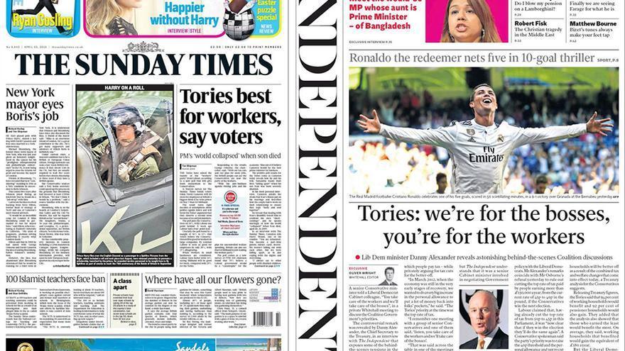 Portadas prensa británica en campaña electoral ¿Quién es el mejor para los trabajadores?