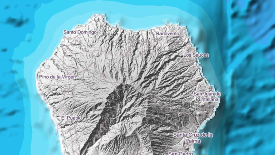 Imagen del IGN en la que indica el lugar exacto donde se ha localizado el movimiento sísmico este jueves,  8 de agosto, a las 07.05 horas, en el municipio de Fuencaliente.