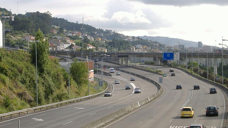Tramo de la Autopista del Atlántico a su paso por Vigo