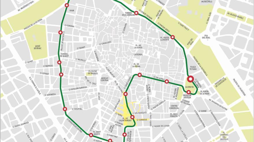 Itinerario de la línea C1 que sustituirá a la actual línea 5