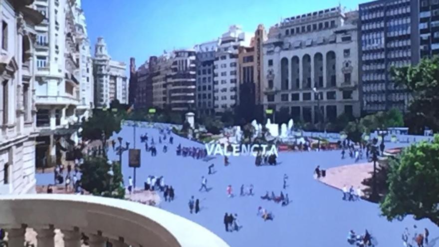 Una proyección de la plaza del Ayuntamiento de Valencia una vez peatonalizada.