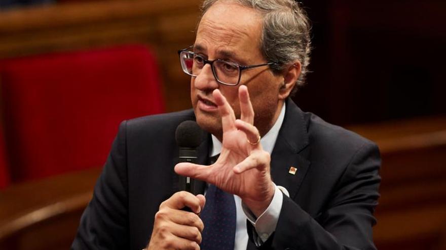El president de la Generalitat, Quim Torra, durante una sesión en el Parlament.