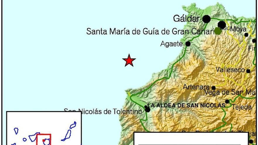 Sismo al noroeste de Gran Canaria.