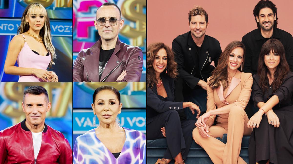 Los protagonistas de 'Top Star. ¿Cuánto vale tu voz?' y 'La Voz Kids'