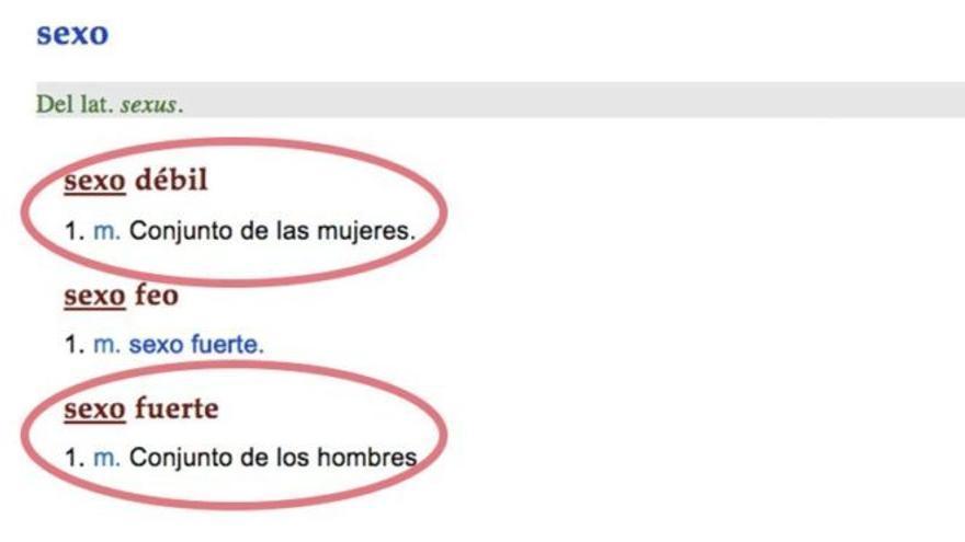 """""""Sexo débil"""" es """"conjunto de mujeres"""" para la RAE."""