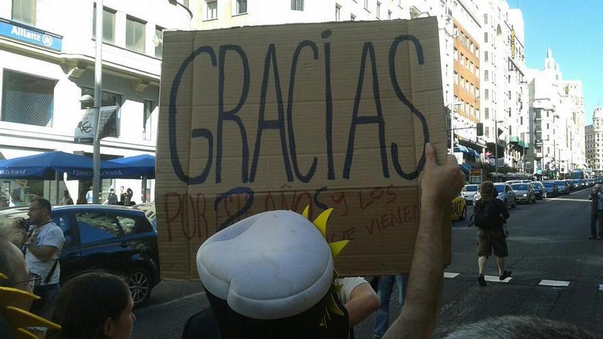 La marcha oeste entra en Gran Vía / Gabriela Sánchez