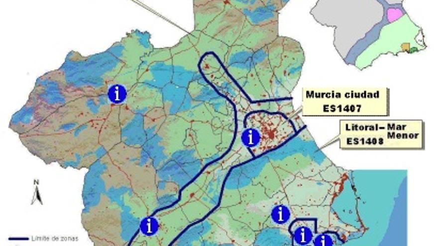 Calidad del aire por zonas en la Región de Murcia