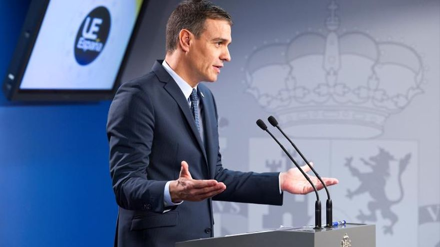Pedro Sánchez durante su comparecencia tras el Consejo Europeo.