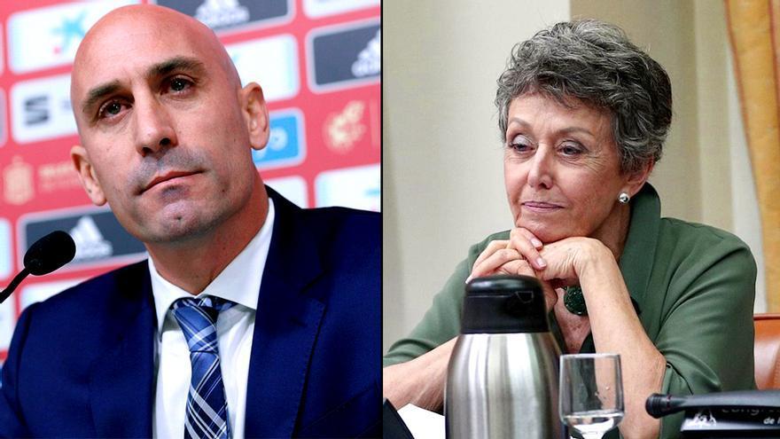 Rubiales (RFEF) y Rosa María Mateo (RTVE)