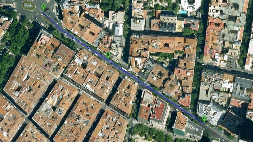 Calle Génova cortada.