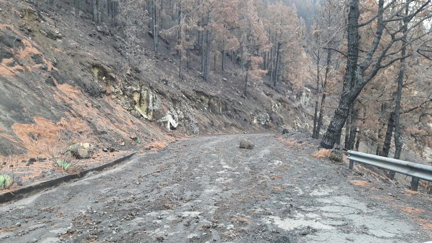 En la imagen, carretera de Mendo, en la que han caído desprendimientos.