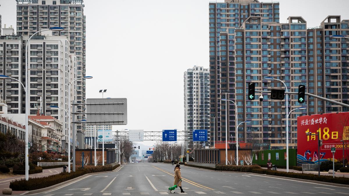 Las calles de Rizhao (China) completamente desiertas durante el inicio de la pandemia.