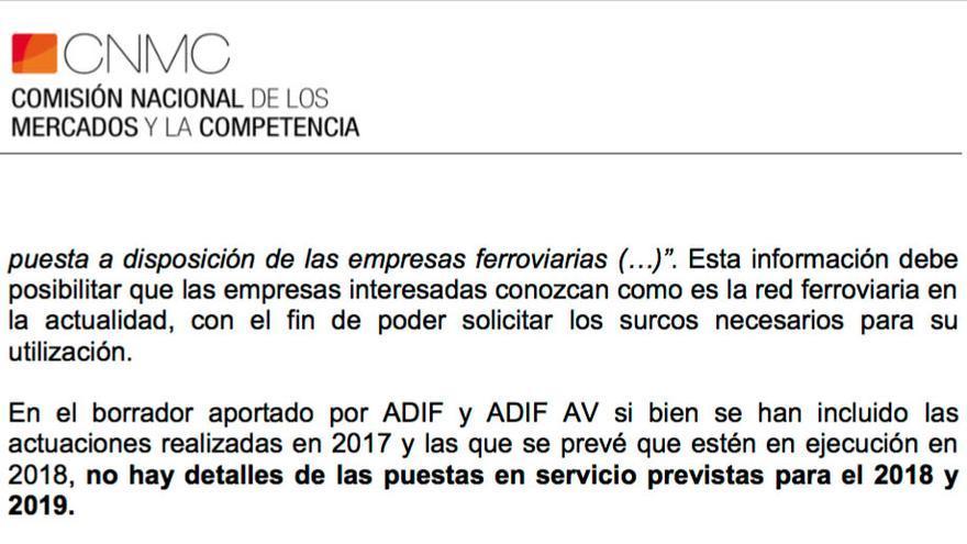 La Comisión de la Competencia critica que Adif no informe de sus previsiones de apertura de nuevos tramos