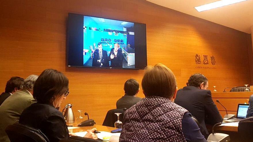 Álvaro Pérez 'El Bigotes' durante su comparecencia, por videoconferencia, en la comisión de investigación de Taula