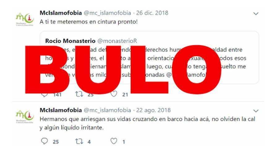 """No, 'Musulmanes contra la Islamofobia' no ha publicado un tuit diciendo a Rocío Monasterio (VOX) """"a ti te meteremos en cintura pronto"""""""