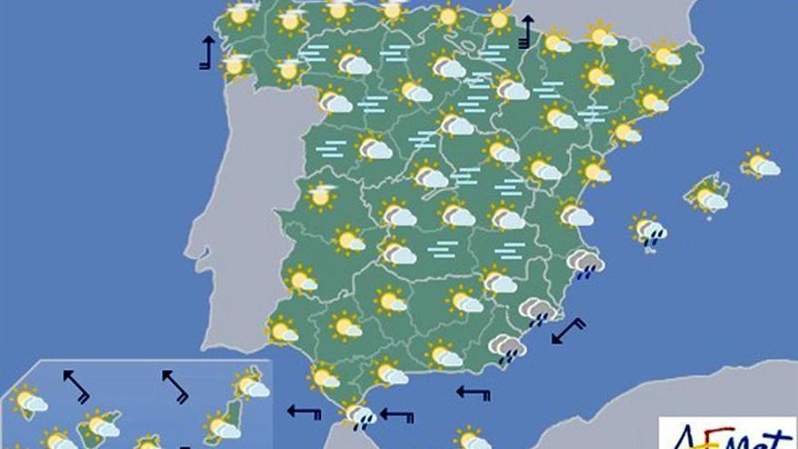 Hoy, inestabilidad en el área mediterránea y niebla en el interior