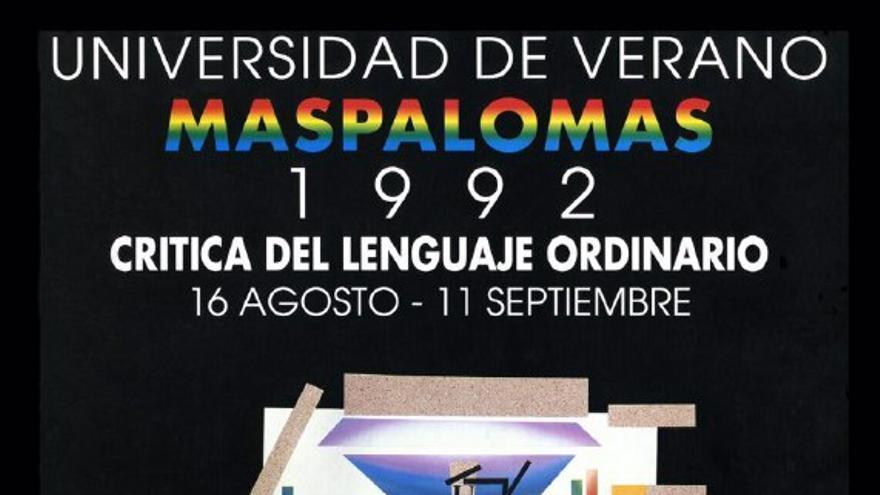 Primer cartel de la Universidad de Verano de Maspalomas, diseñado por Sergio Gil
