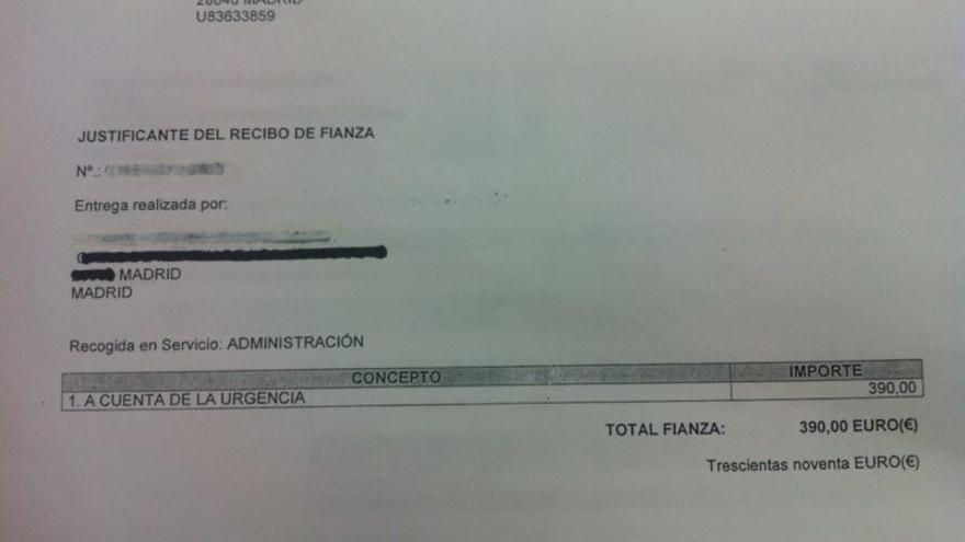 Factura de la fianza que un paciente tuvo que pagar en urgencias del Hospital Universitario Fundación Jiménez Díaz