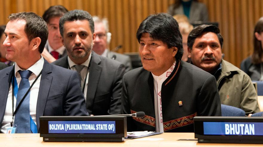 El presidente de Bolivia, Evo Morales, durante su participación en la UNGASS