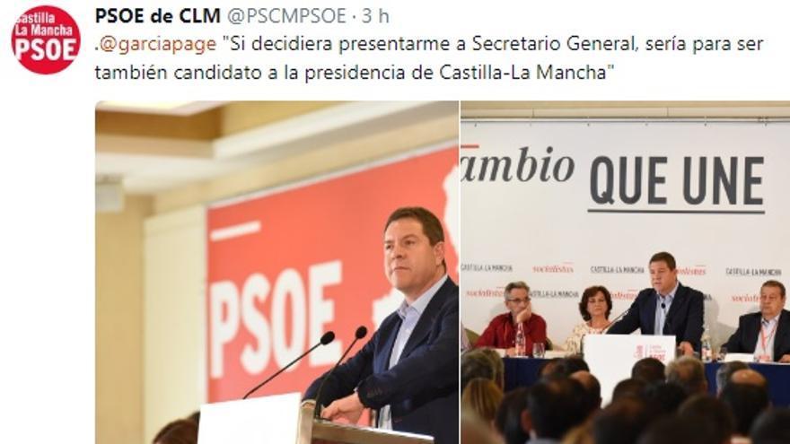 Tuit del PSOE de Castilla-La Mancha hoy durante el Comité Regional del partido