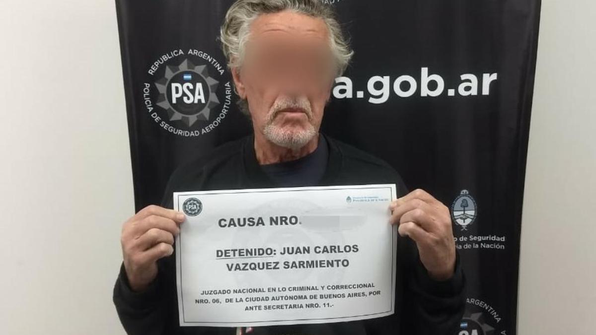 El represor Juan Carlos Vázquez Sarmiento, detenido por la PSA