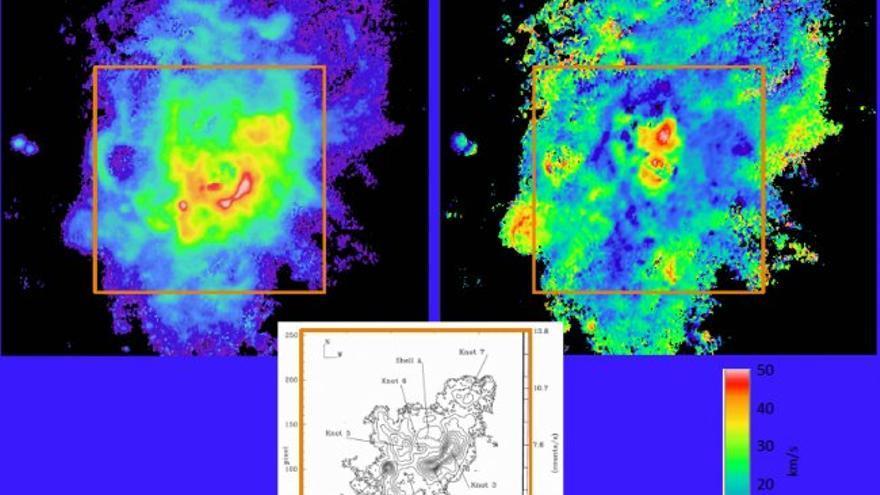 """Datos preliminares de observación del nuevo módulo NEFER en el GTC. Arriba a la izquierda: imagen integrada de emisión por hidrógeno ionizado interestelar alrededor de NGC 604, un cúmulo de estrellas masivas jóvenes en la galaxia M33 del Grupo Local a una distancia de 2.700 años luz. Arriba a la derecha: un mapa de la estructura en velocidad del gas en NGC 604, obtenido desde el mismo """"cubo de datos"""". Este mapa es todavía preliminar."""