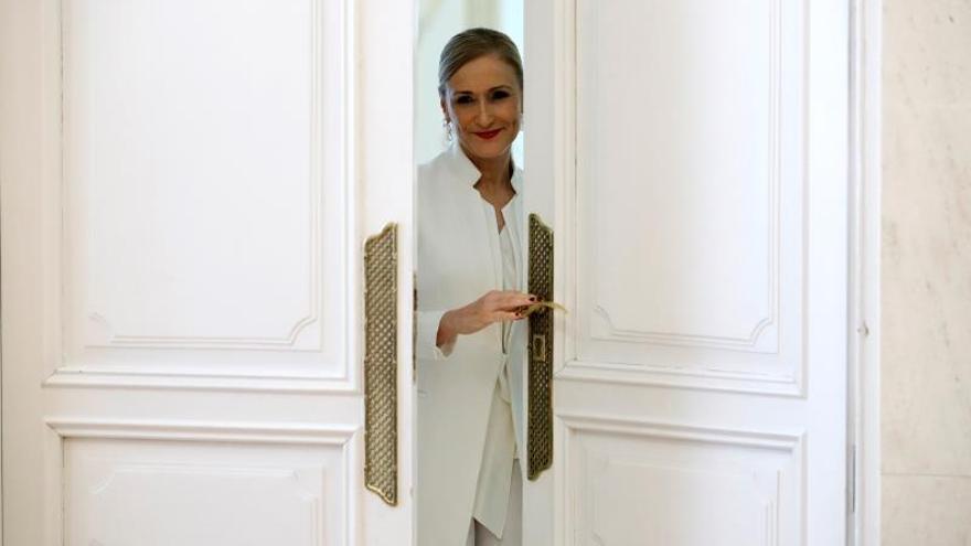 Cristina Cifuentes tras anunciar su dimisión como presidenta de la Comunidad de Madrid.