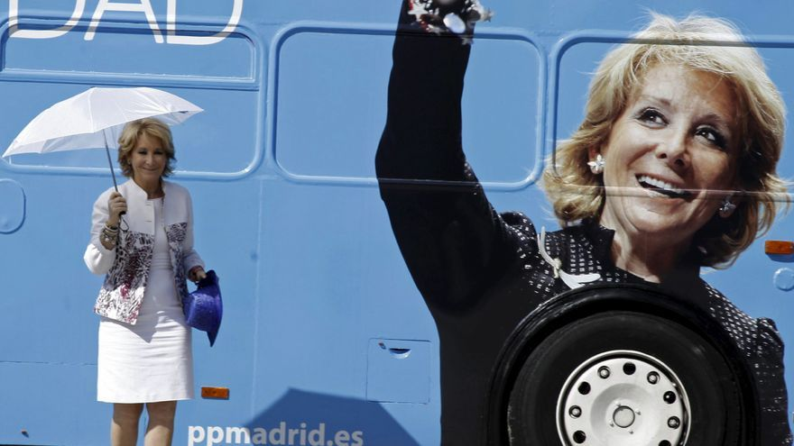 Fotografía facilitada por el PP de la presidenta del partido en Madrid y cabeza de lista al Gobierno regional, Esperanza Aguirre, en Tres Cantos, donde presentó las propuestas económicas y fiscales para la próxima legislatura. EFE