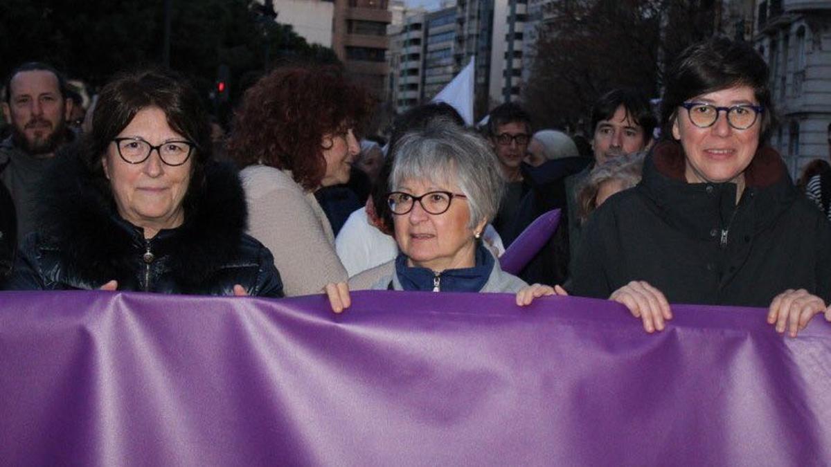 Chelo Poveda, coordinadora de Podem en Valencia, junto a Pilar Lima, coordinadora autonómica.