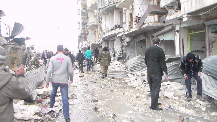 Imagen tomada en Alepo cedida por un refugiado sirio en España, cuyo caso ha llevado Accem. Le envía la foto su hermano, que todavía sigue en la ciudad siria./