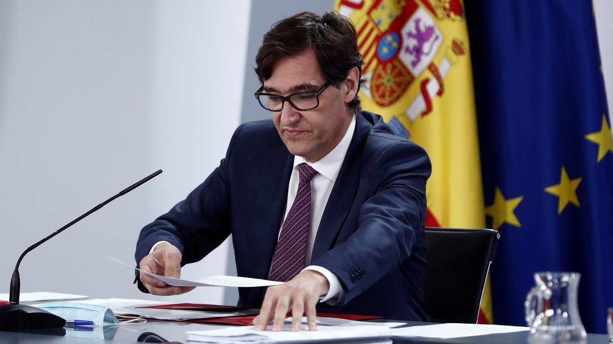 El Ministro de Sanidad Salvador Illa, durante una rueda de prensa. EFE/Mariscal